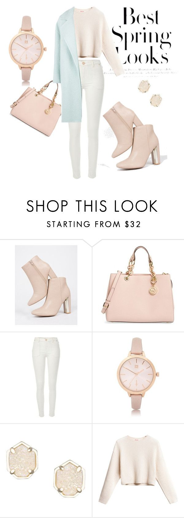 """Spring pastel look"" by terezahrnova ❤ liked on Polyvore featuring Qupid, MICHAEL Michael Kors, River Island, Kendra Scott, H&M and MaxMara"