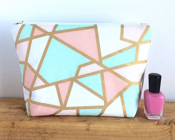 cb613a9bc5d6 Mint and Gold Makeup Bag Large Make Up Bag Cosmetic Bag | CUTE ...