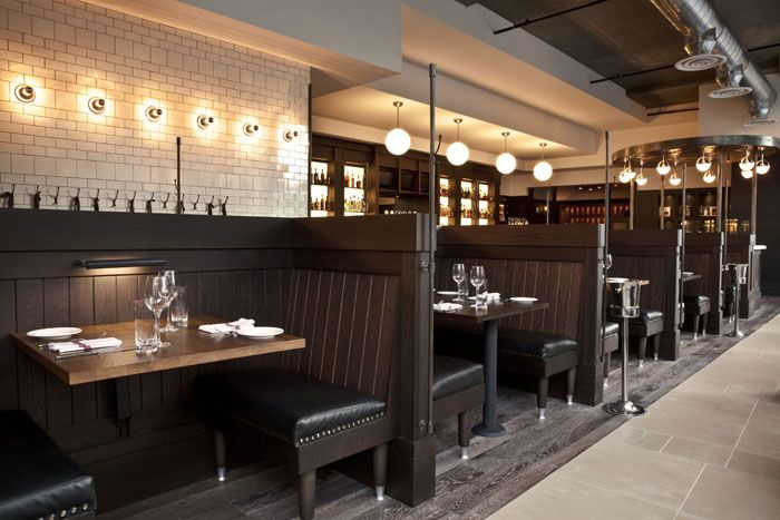 A row of 10 booths divides the main dining room in half. | Bar ...