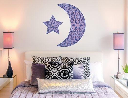 Schlafzimmer Wandtattoo mit Mond und Stern aus dem Orient