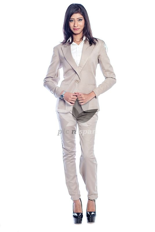 Royalty Free Stock Photo Image Woman In Formal Wear Working Young Office Trouser Beige Color Business Suit White Shirt