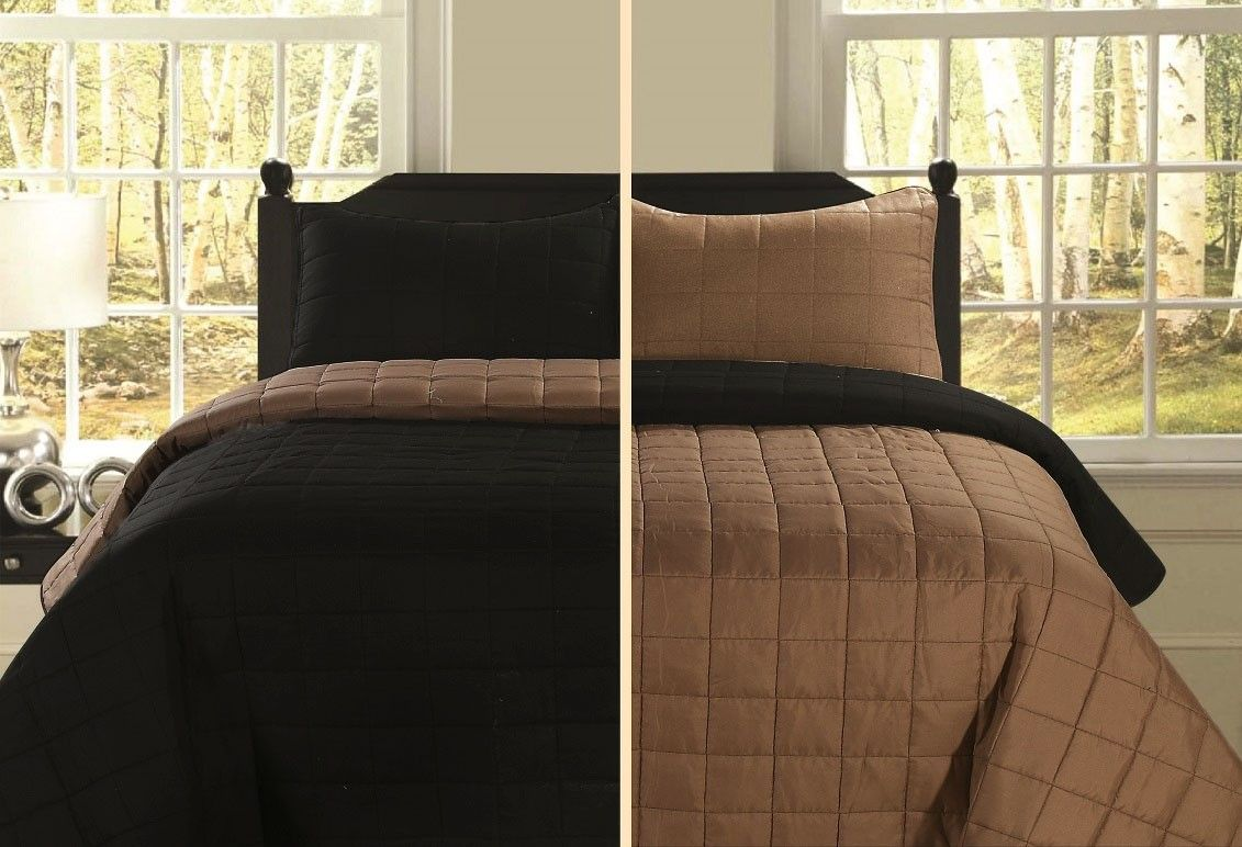 Beatrice Full Queen Size 3 Piece Black And Light Brown Reversible Quilt Bedding Bedspread Coverlet Set Quilt Bedding Bed Spreads Quilt Sets Bedding