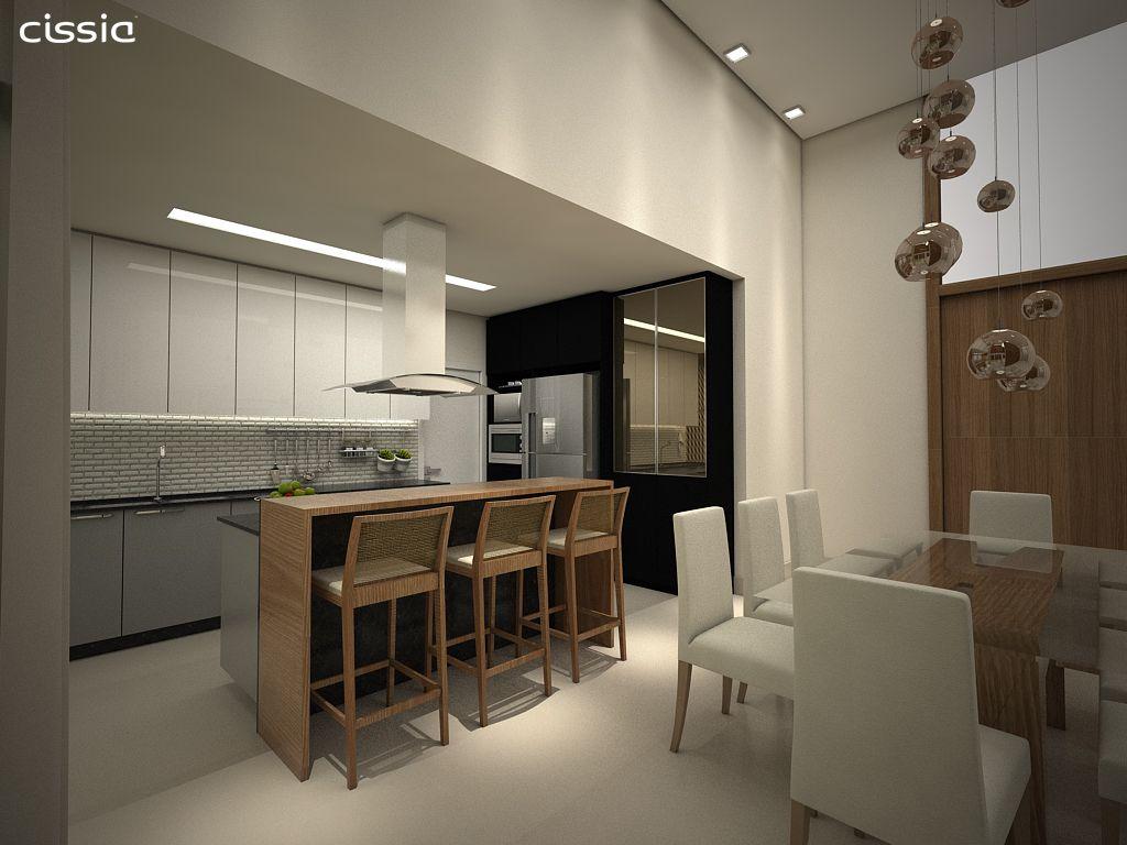 Sala De Jantar Sala Integrada Pendente Sobre Mesa Cozinha Com