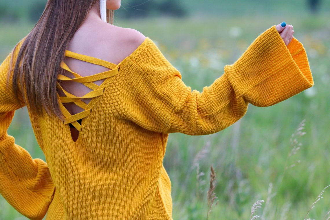 c4b4d06f2f Yellow Bell Sleeve Sweater