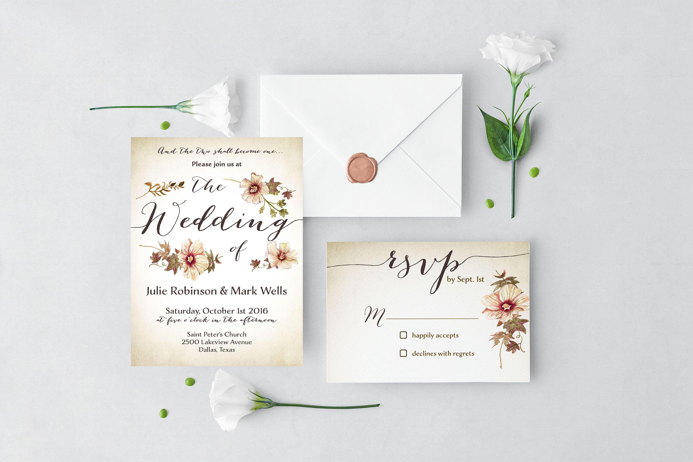 Bohemian Wedding Invitation Watercolor Floral Wedding Invitation