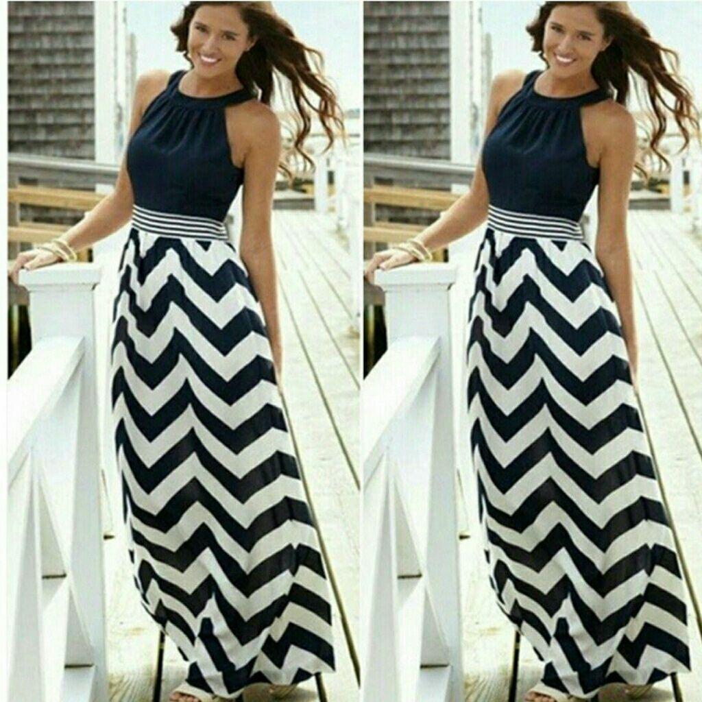 Halter Top Chevron Maxi Long Dress | Maxi dress chevron, Chevron ...