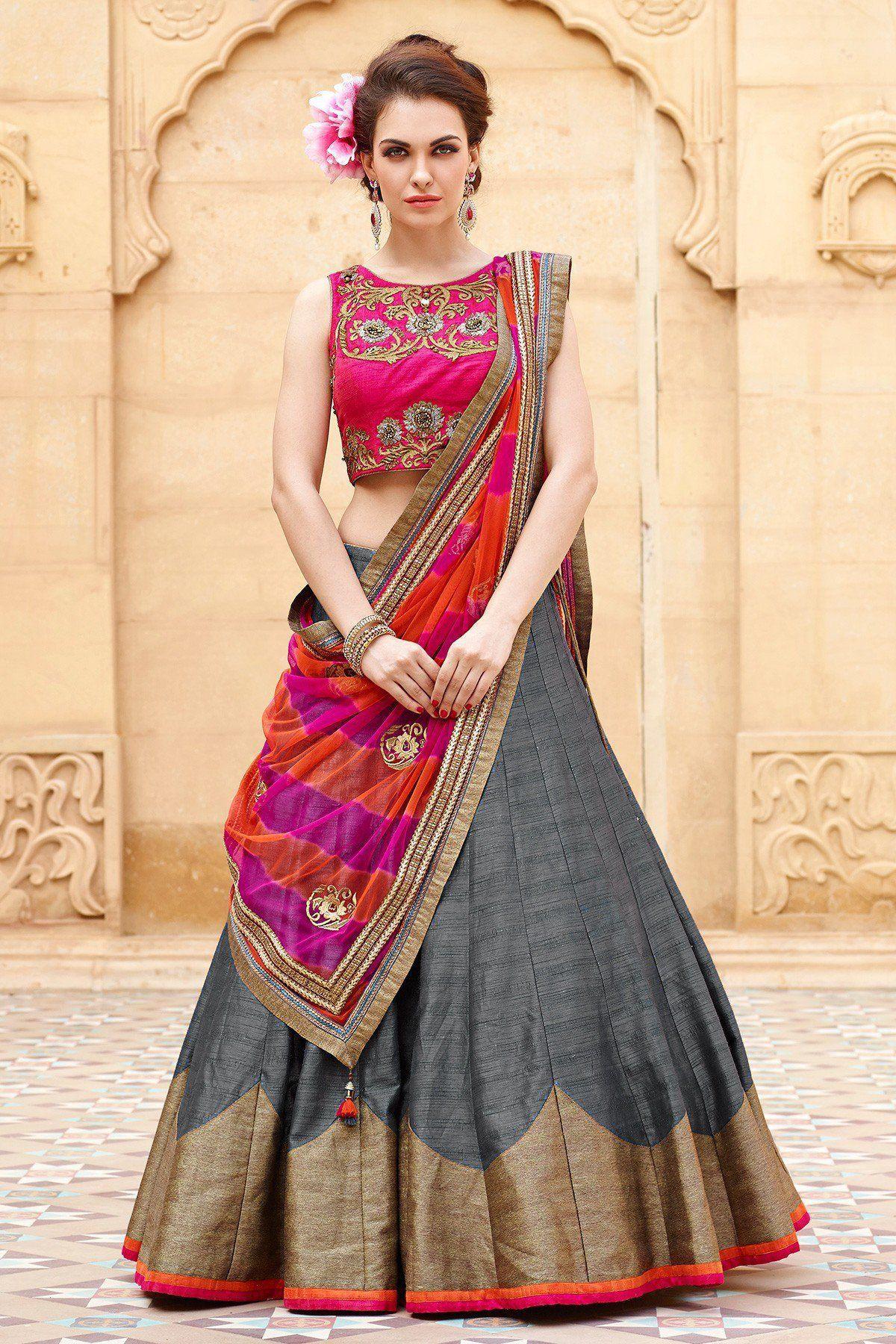 ed10e0e955 New Special Multi Embroidery Banglori Silk Lehenga Choli | escape ...