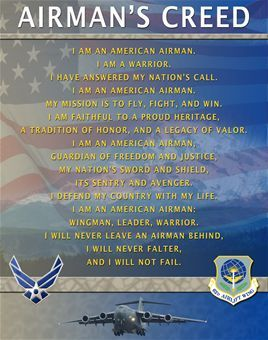 The airmans creed is the formal statement that every airman recites the airmans creed is the formal statement that every airman recites at the end of basic training ceremony thecheapjerseys Images