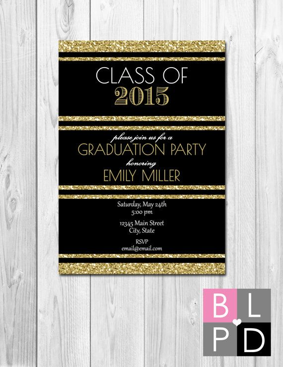 Graduation Party Invitation Black White and Gold Glitter Class