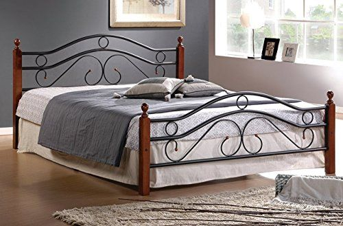 Best Queen Metal Bed Frame W Wood Posts And Mattress Support 400 x 300