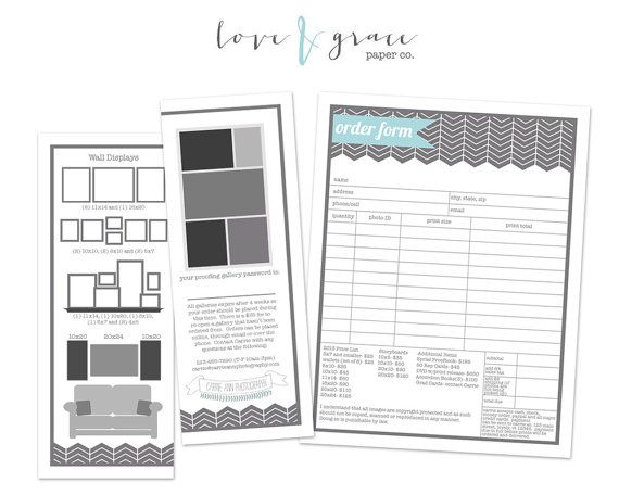 Order Form Photographer Resource Instant By Loveandgracepaperco