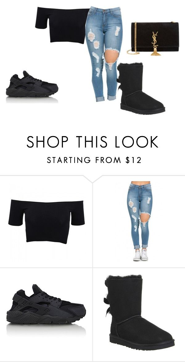 """""""idk"""" by missmarye21 ❤ liked on Polyvore featuring American Apparel, NIKE, UGG Australia, Yves Saint Laurent, women's clothing, women, female, woman, misses and juniors"""