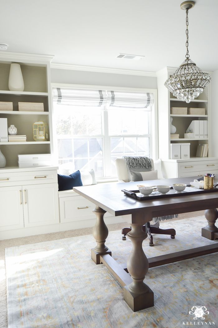 White And Gold Home Office Makeover With Styled Built Ins Flanking The Center Window Check Out This Timeless Elgant Glam One Room Challenge Reveal