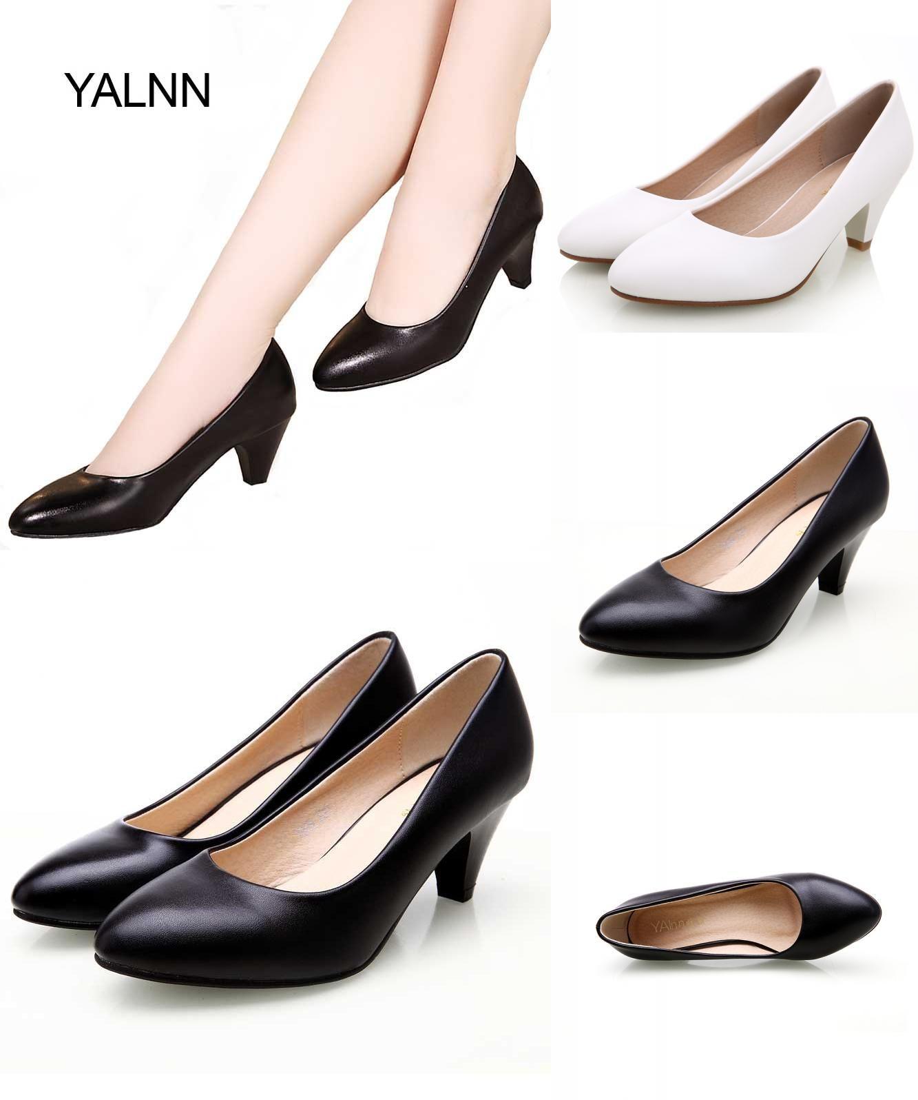 43f748d3ce Visit to Buy] YALNN Black Women Shoes Pumps Ladies Medium Heel Nude ...