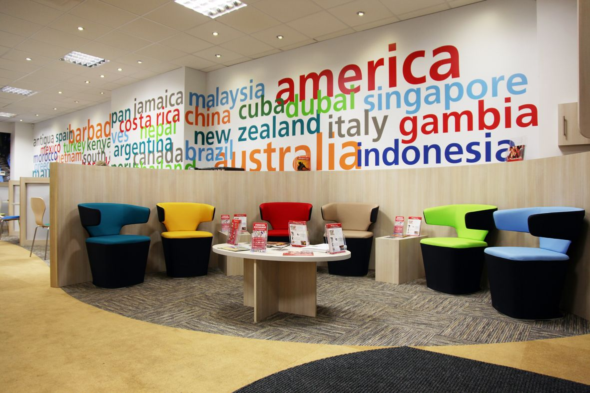 Modern colorful trendy travel agency office interior for Interior design travel agency office