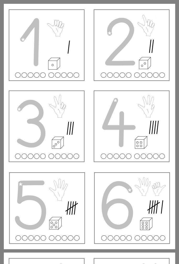 Die Zahlen sind durch Mengen und Ziffern, durch Striche und Punkte und sogar durch die Finger dargestellt #preschoolers