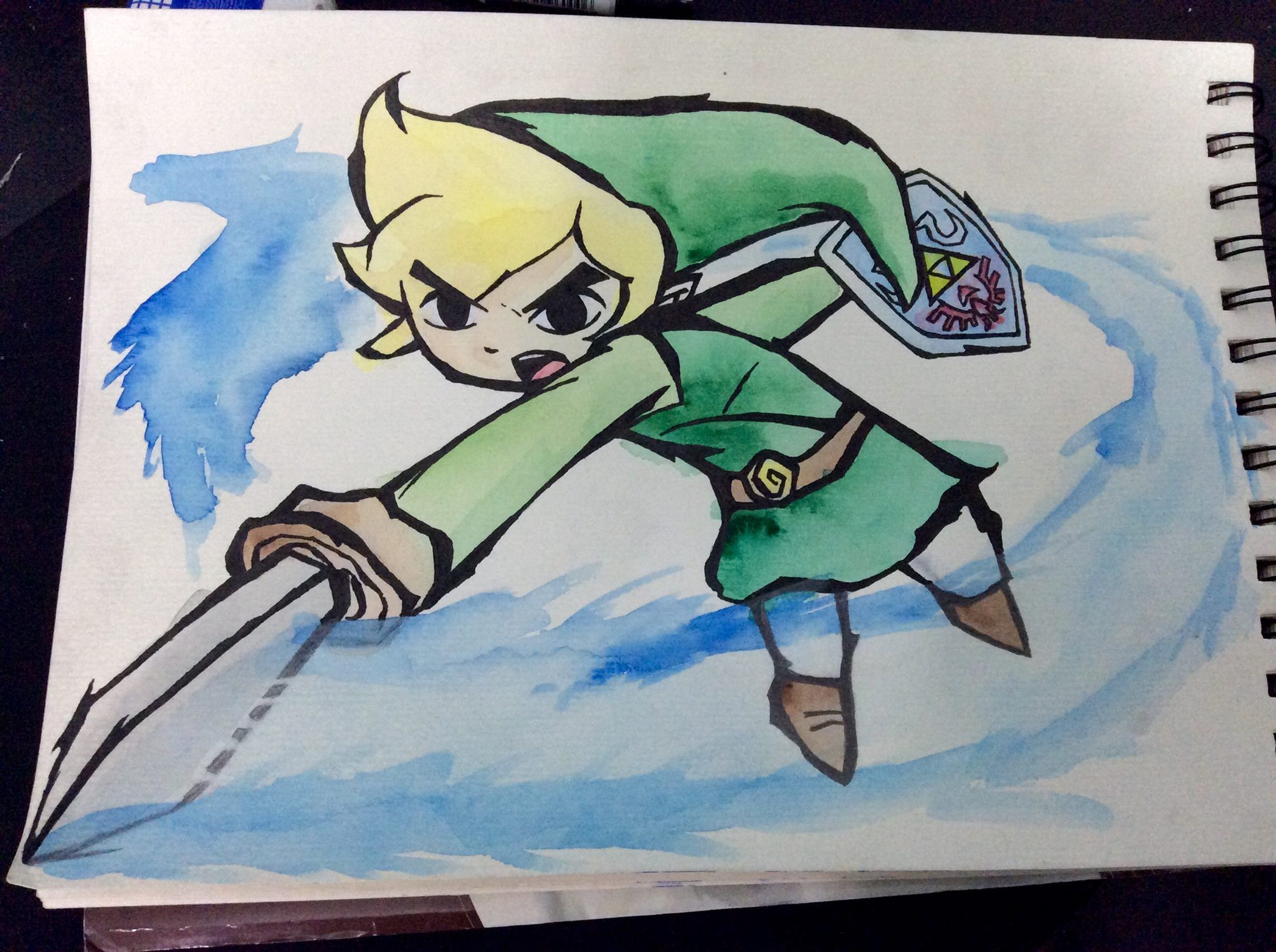 Game with watercolor - Toon Link Watercolor Ink Process Legendofzelda
