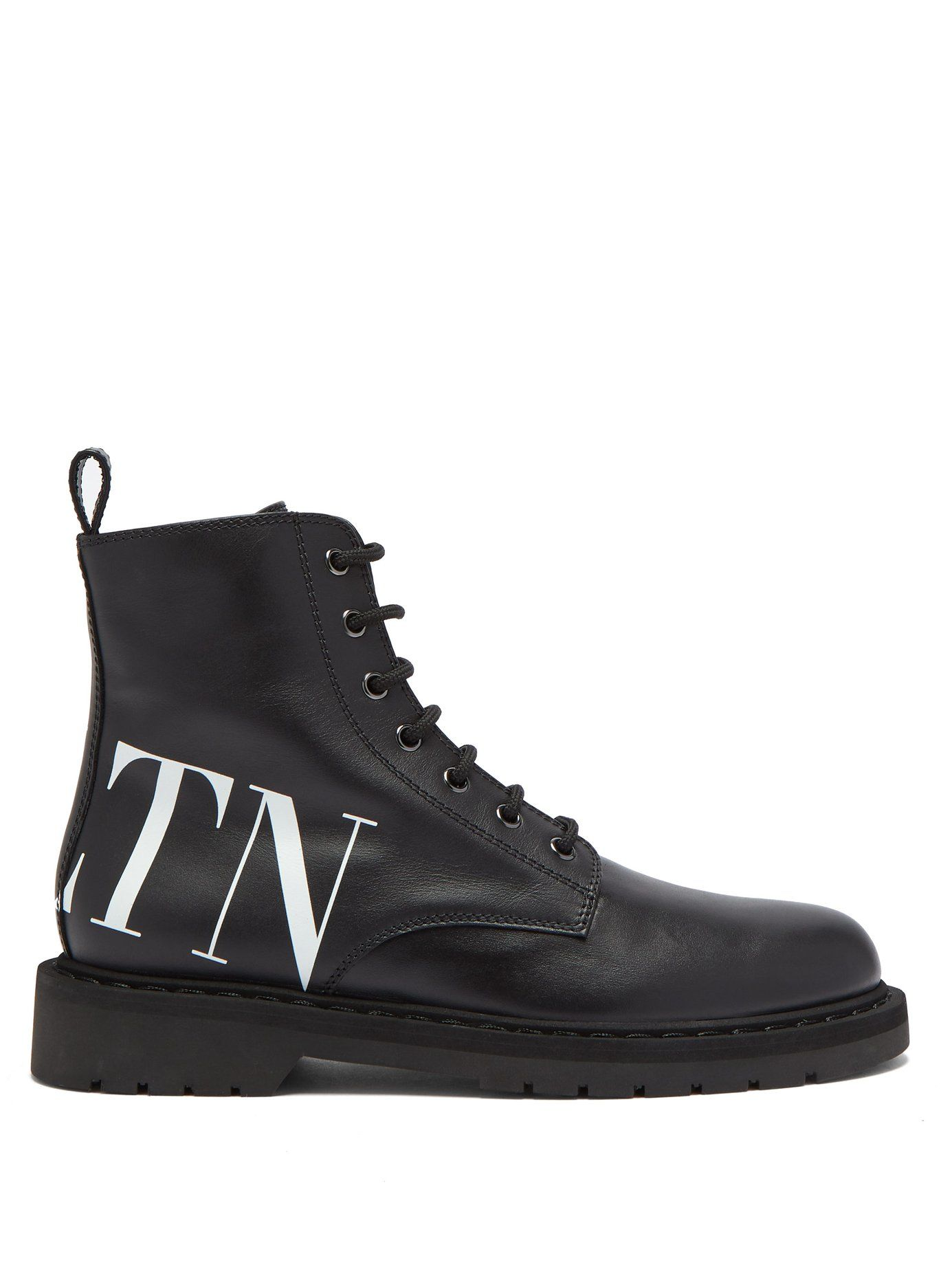 VLTN lace up leather ankle boots | Valentino