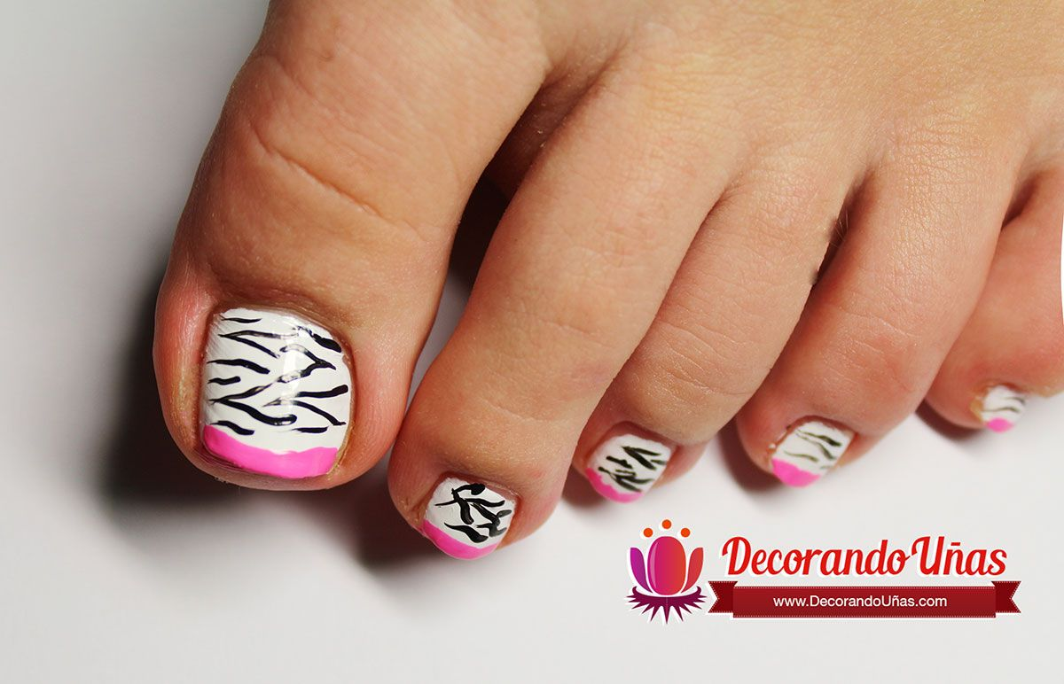 Uñas Animal print y estilo francesa para el pie – Video tutorial ...