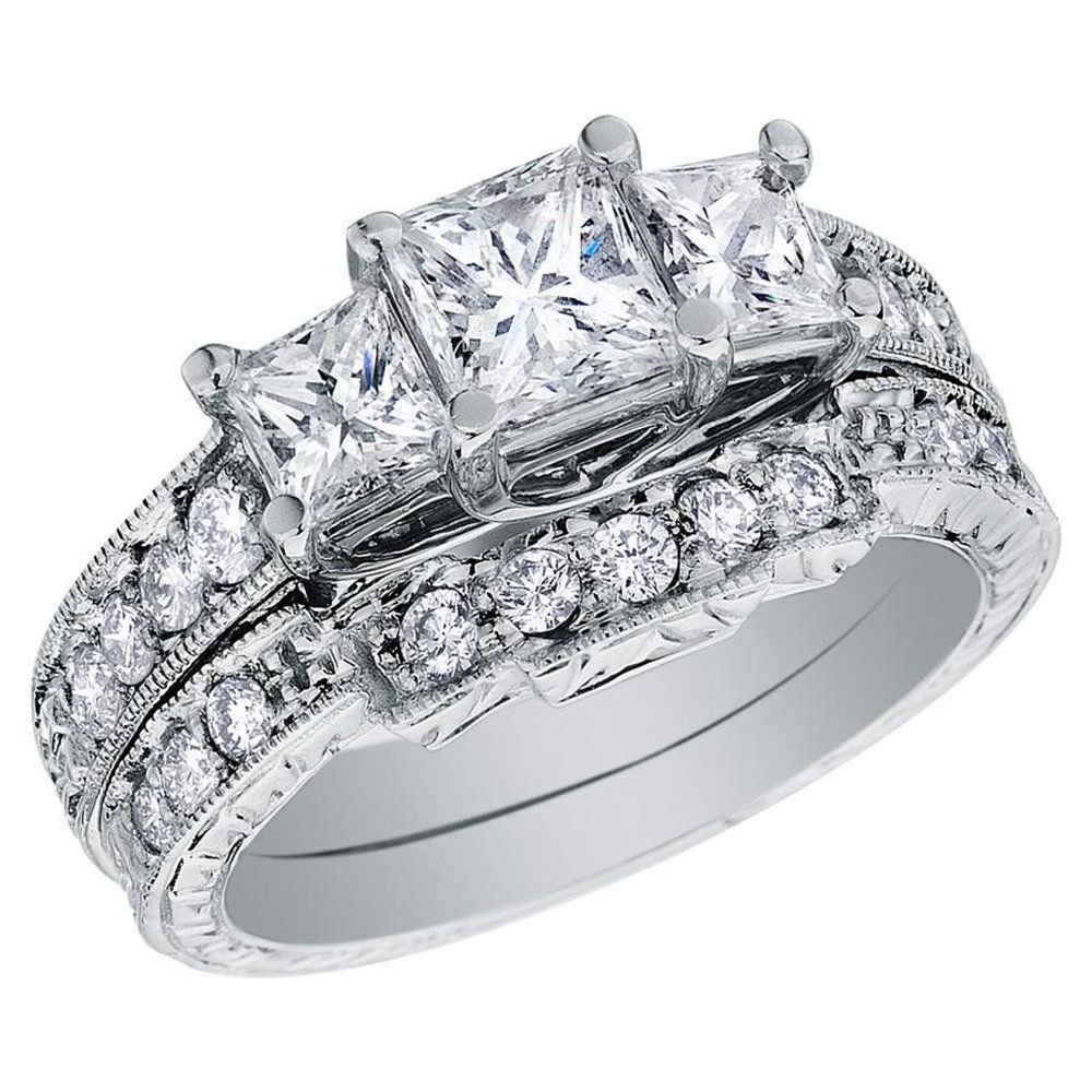 three princess cut diamond rings back to post wedding rings for women princess cut - Girl Wedding Rings