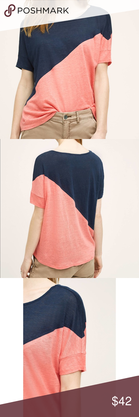 """NWT Anthropologie Bordeaux Colorgrade Tee S * Linen * Hand wash * Imported * Style No. 4112209027001 * Regular: 25""""L Comes from a smoke and pet free home. Item is new without tags and has never been worn.  My prices are firm. No trades or holds. No transactions off of poshmark. Anthropologie Tops Blouses"""