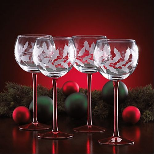 Christmas Wine Glass Sets | Lenox Holiday Etched Balloon Wine ...