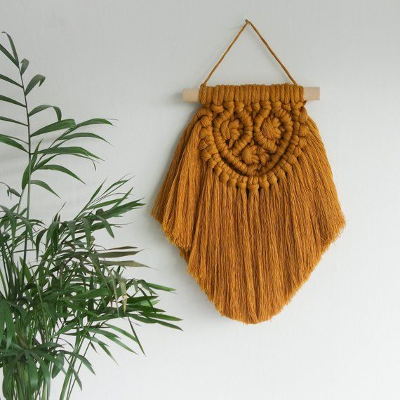 Small macrame wall hanging, beautiful mustard orange colour and a rustic, beach and boho style