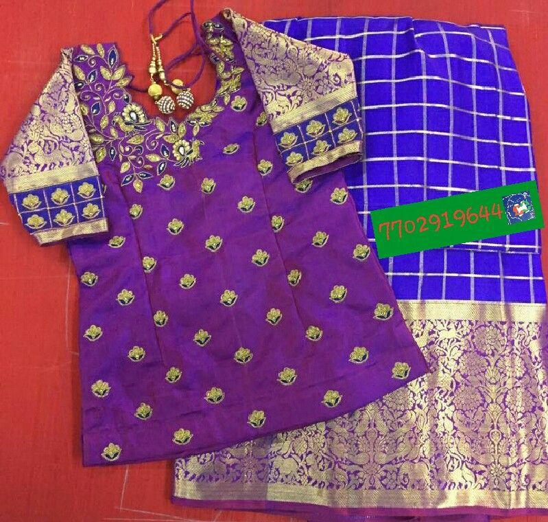 227eb1ae96523 Pattu langa with blouse maggam work 7702919644