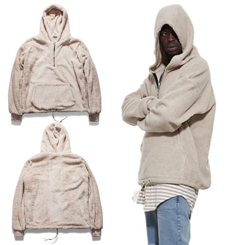 Mens Half Zipper Sweater Pullover Sherpa Hoodie Kanye Warm West Streetwear Coat
