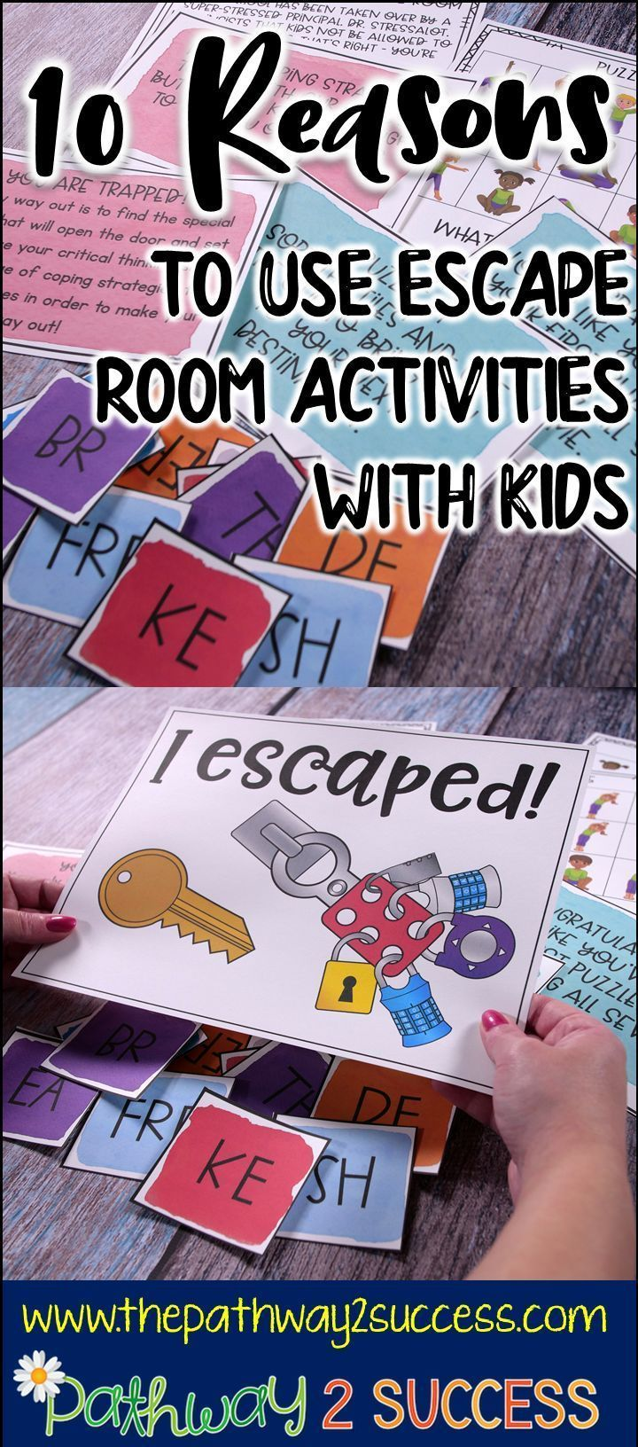 Use escape room activities build team work skills, increase perseverance, encourage critical thinking and much more! Read up here at this blog post to find out why you should be using escape room activities with your kids.