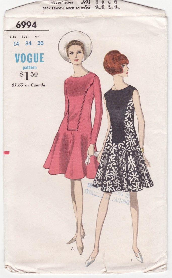 c97d753fe0 Vogue 6994   One-Piece Dress