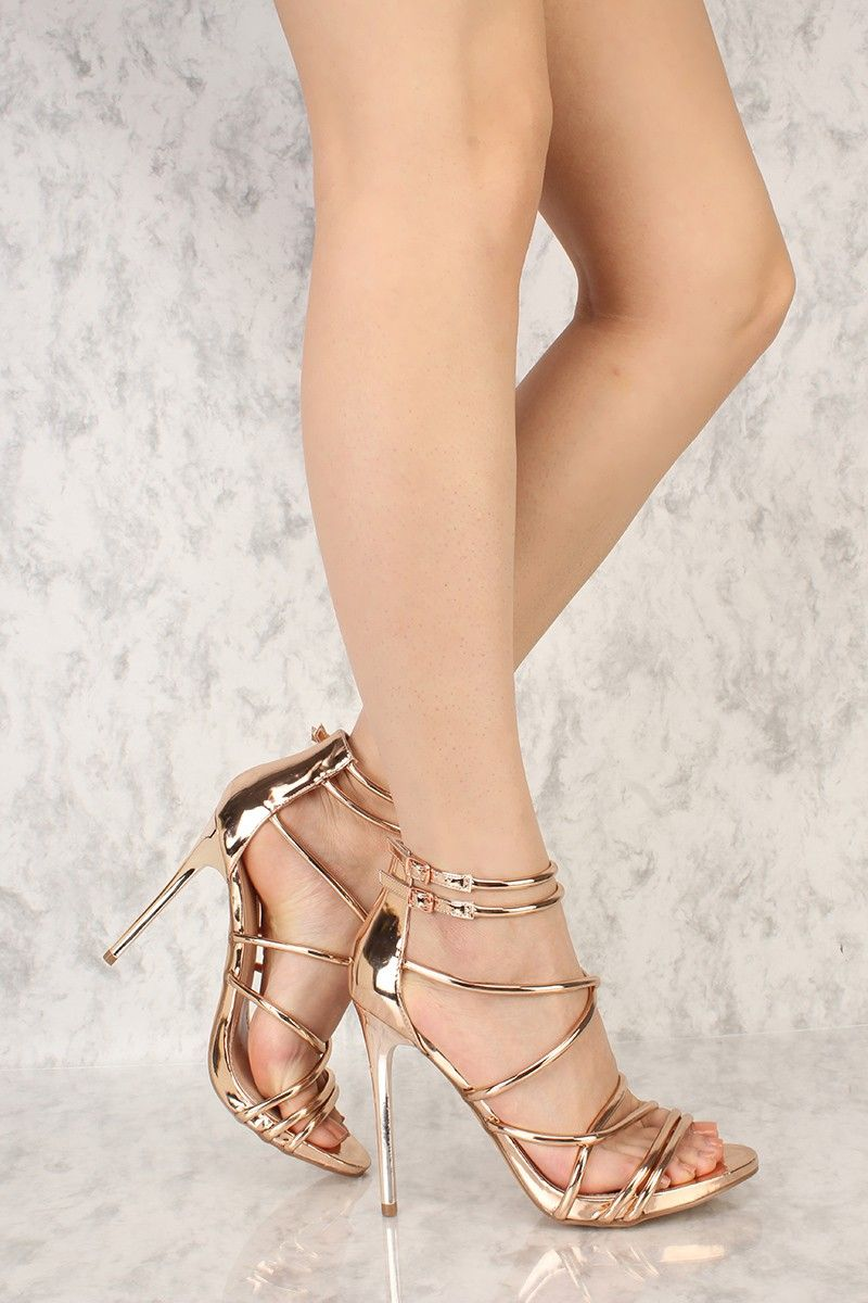 41b31feede1 Rose Gold Strappy Open Toe Single Sole High Heels Faux Leather ...
