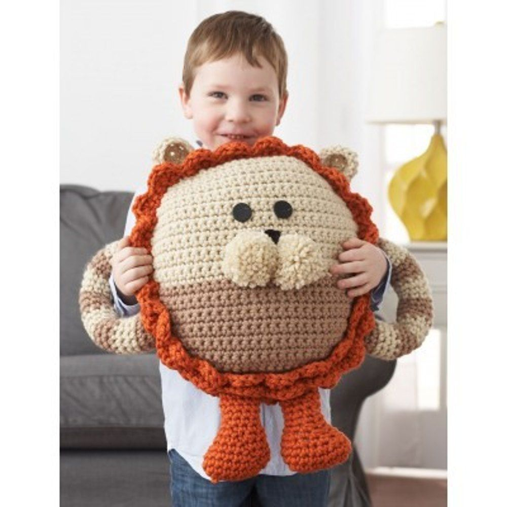 Huggable Lion Pillow in Bernat Softee Chunky. Discover more Patterns ...