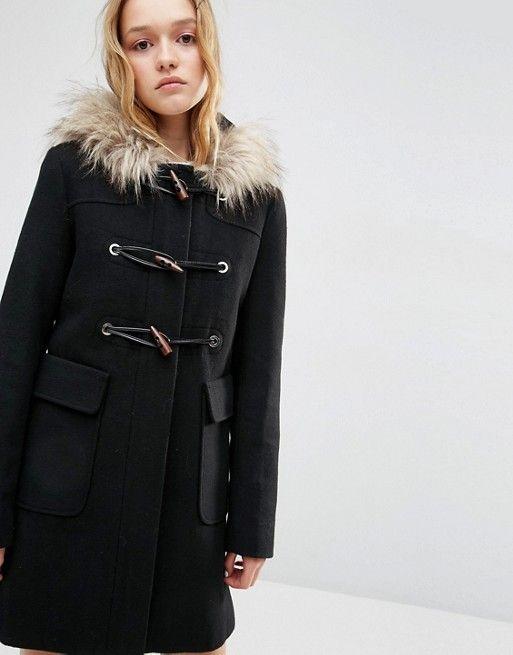 dc973031e2b47 Wool Blend Faux Fur Hooded Duffle Coat   Style   Duffle coat, Coat ...