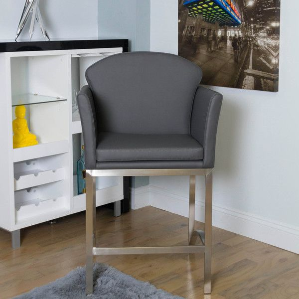 Super Enzo Brushed Stainless Steel Counter Height Stationary Stool Caraccident5 Cool Chair Designs And Ideas Caraccident5Info