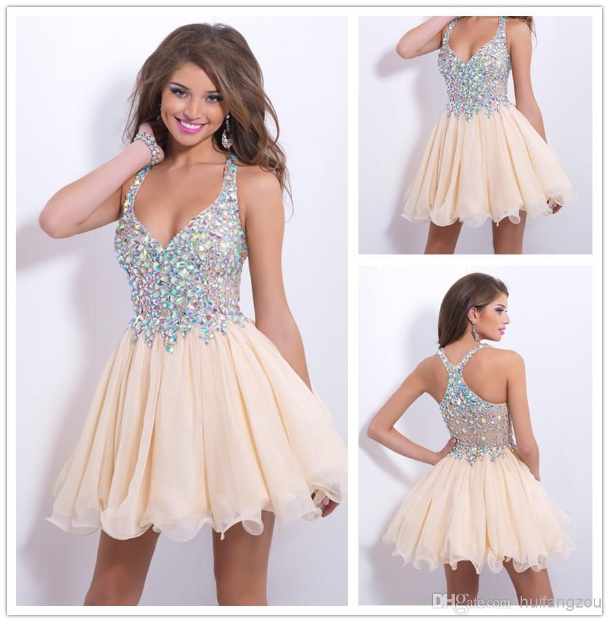 b0a6b62644c Cheap Homecoming Dresses - Discount 2014 Short Mini Halter V Neck Champagne  Beads Crystal Rechinestone Organza Piping Sheer Back Princess Ruffles Tiers  ...