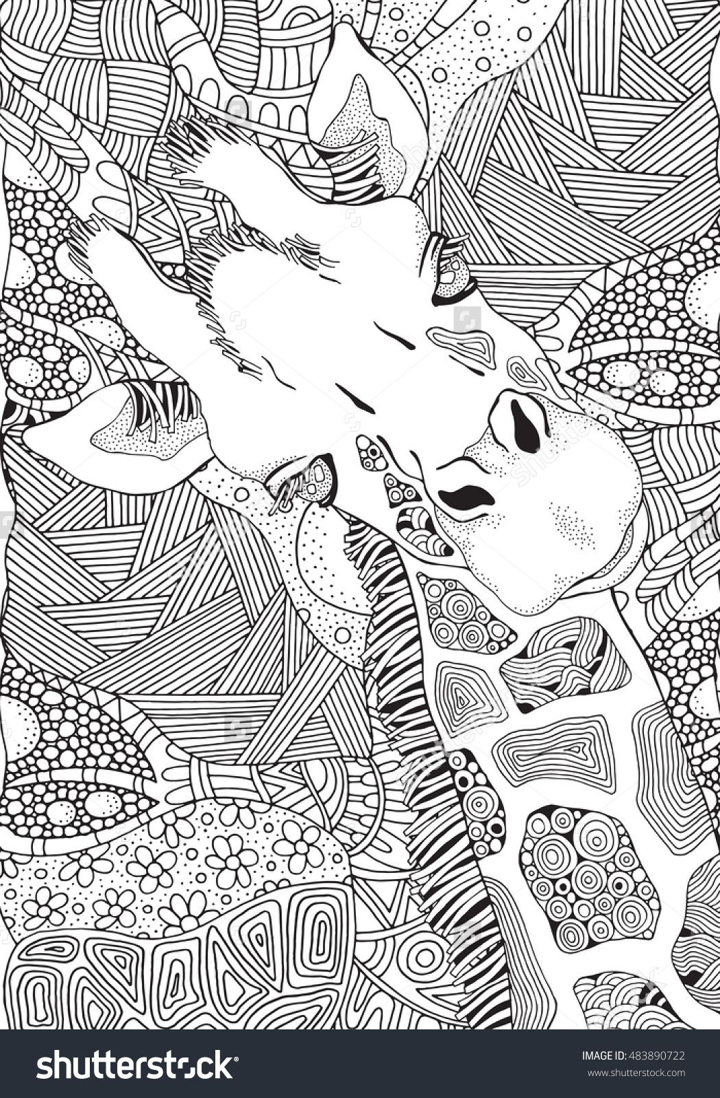 Coloring book page for adult and children giraffe in zentangle