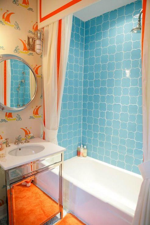 Fun Blue U0026 Orange Boyu0027s Bathroom With Mirrored Single Bathroom .