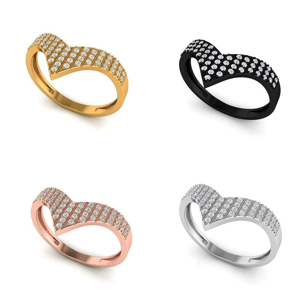 Pave diamond chevron shape band ring k yellow gold jewelry gifts