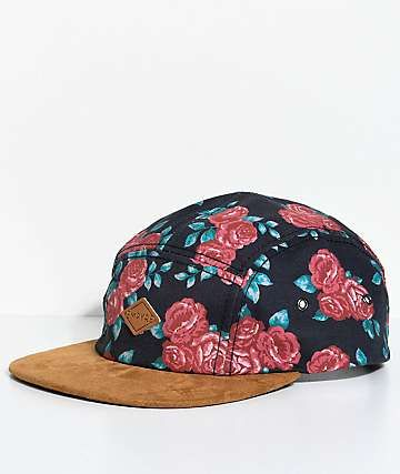 Empyre Rose Black 5 Panel Strapback Hat  81667a69237