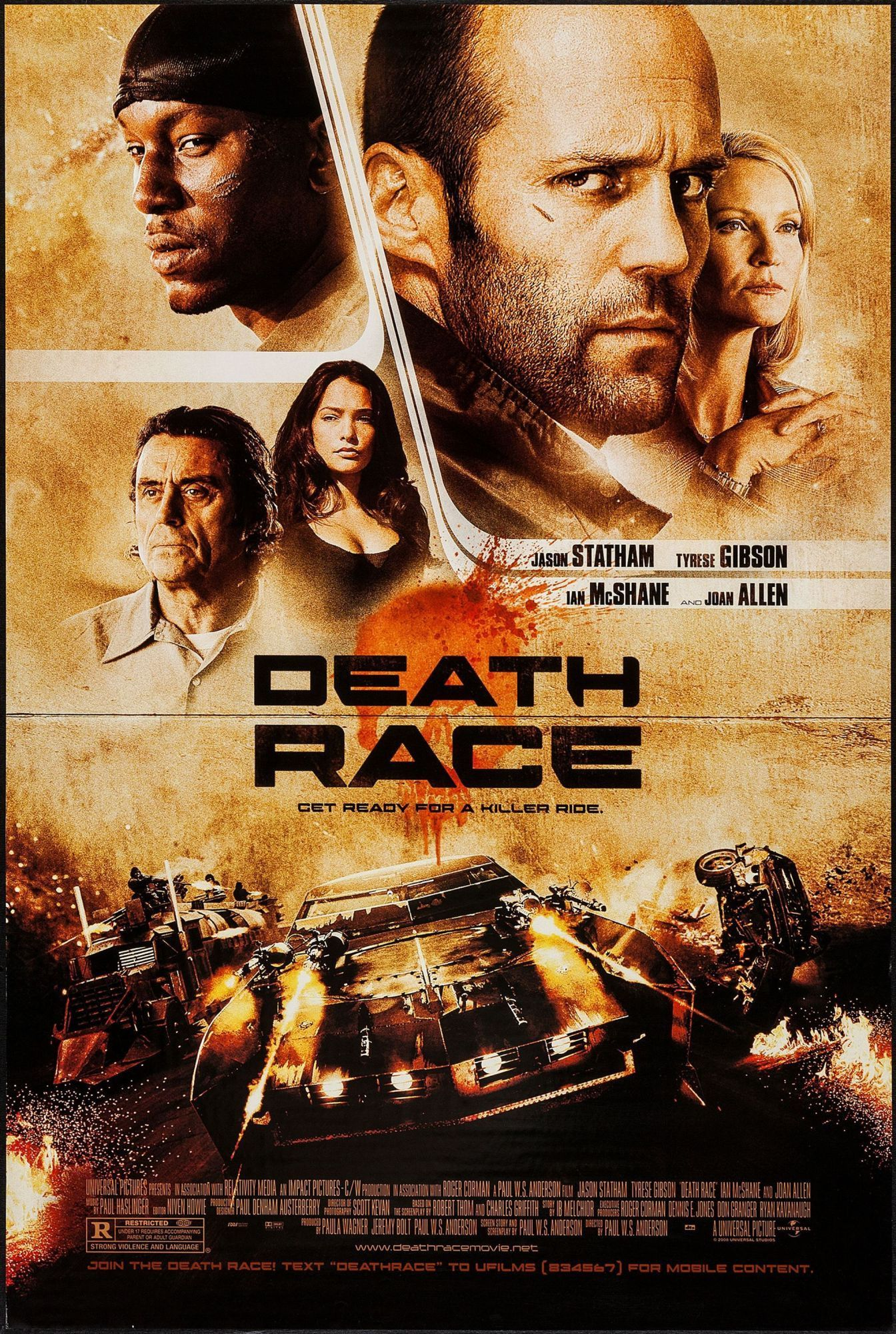 death race - 2008 - movie poster - near mint (9.0) | lights, camera
