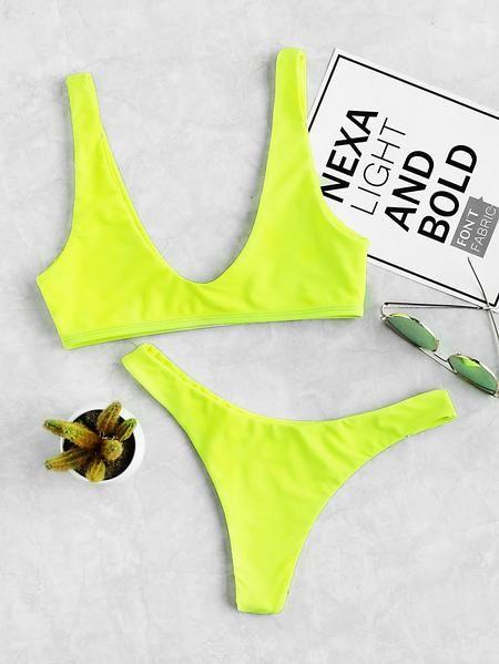 985c79a98f Neon High Leg Plunge Neckline Bikini Set