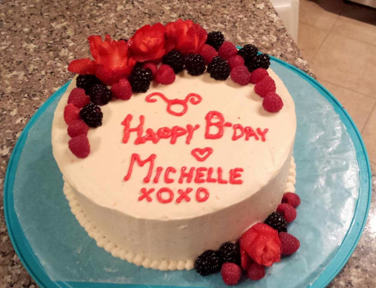 Lactose Free Birthday Cake Decorated With Fruit Frosting Made By