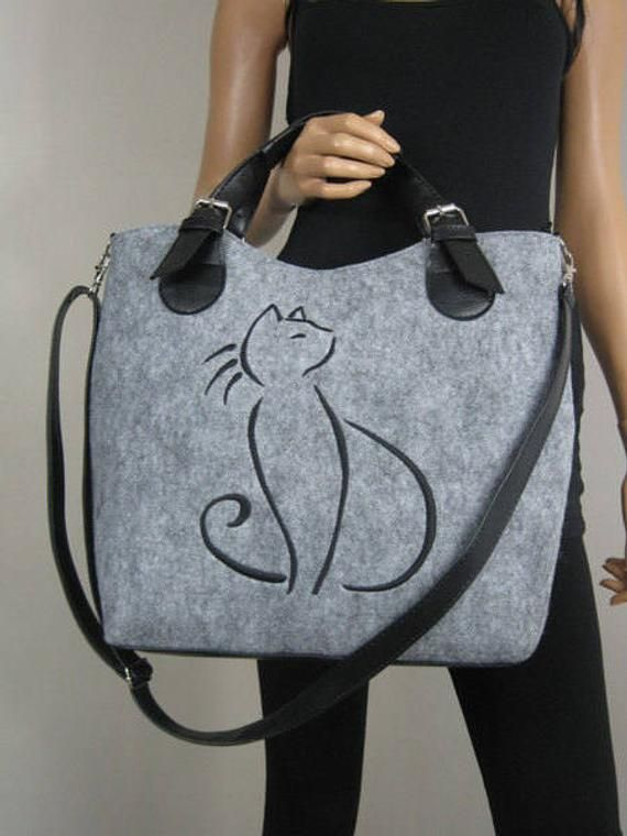 FELT BAG, Felted purse, Felt Cat bag, Felted bag , Felted purse, Felt satchel purse , Grey handbag, Designer handbag