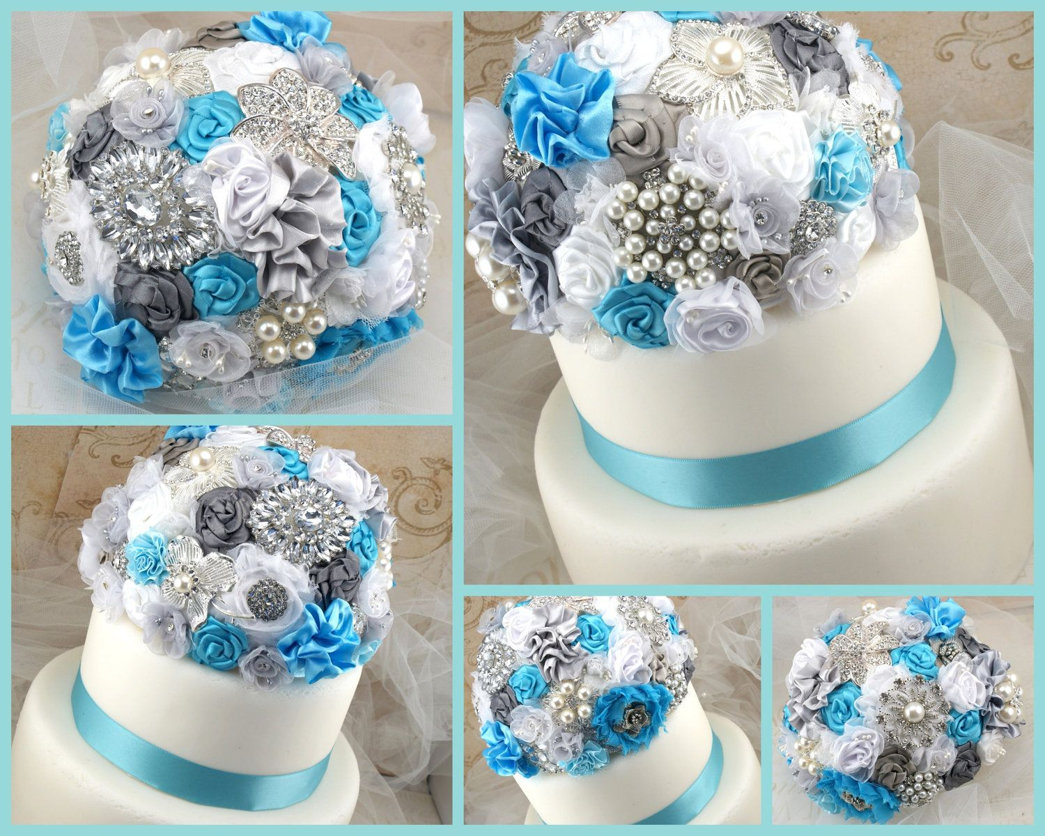 Cake Topper Brooch Turquoise White Silver Jeweled Elegant Wedding Bridal Decoration Fl Lace Pearls Crystals