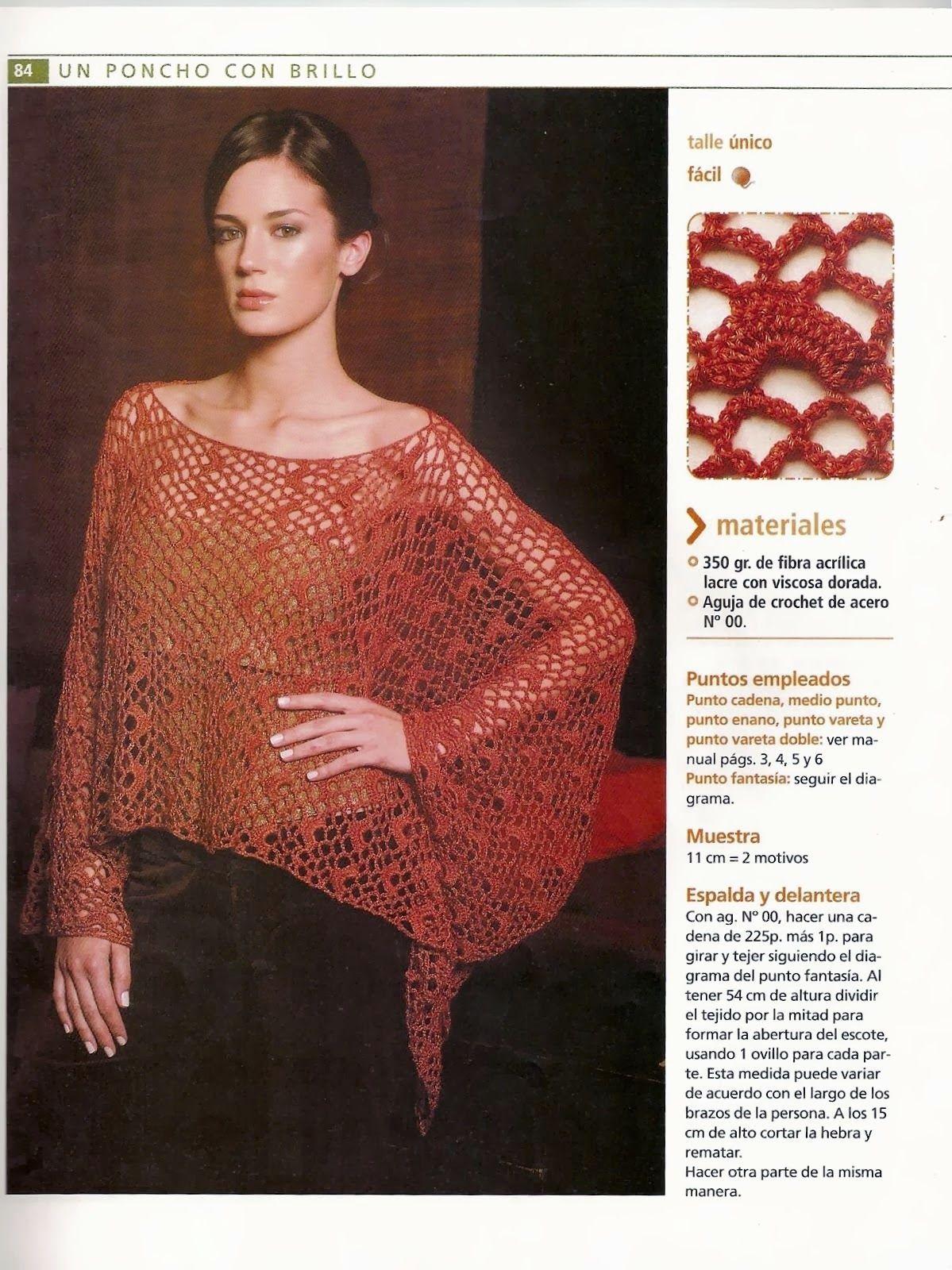 Poncho liviano con lanas de brillo Patron - Patrones Crochet ...