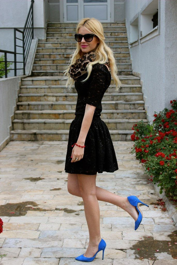 Blue shoes and black dress