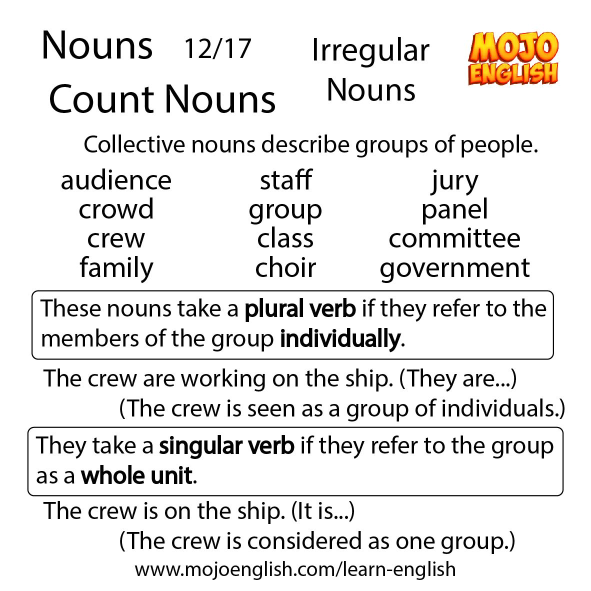 Nouns 12 17 Count Nouns Irregular