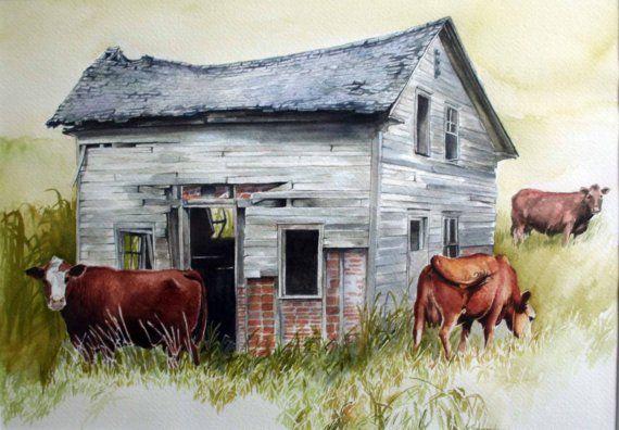 Cows Watercolor Old Building Barn Brickhouse Cows