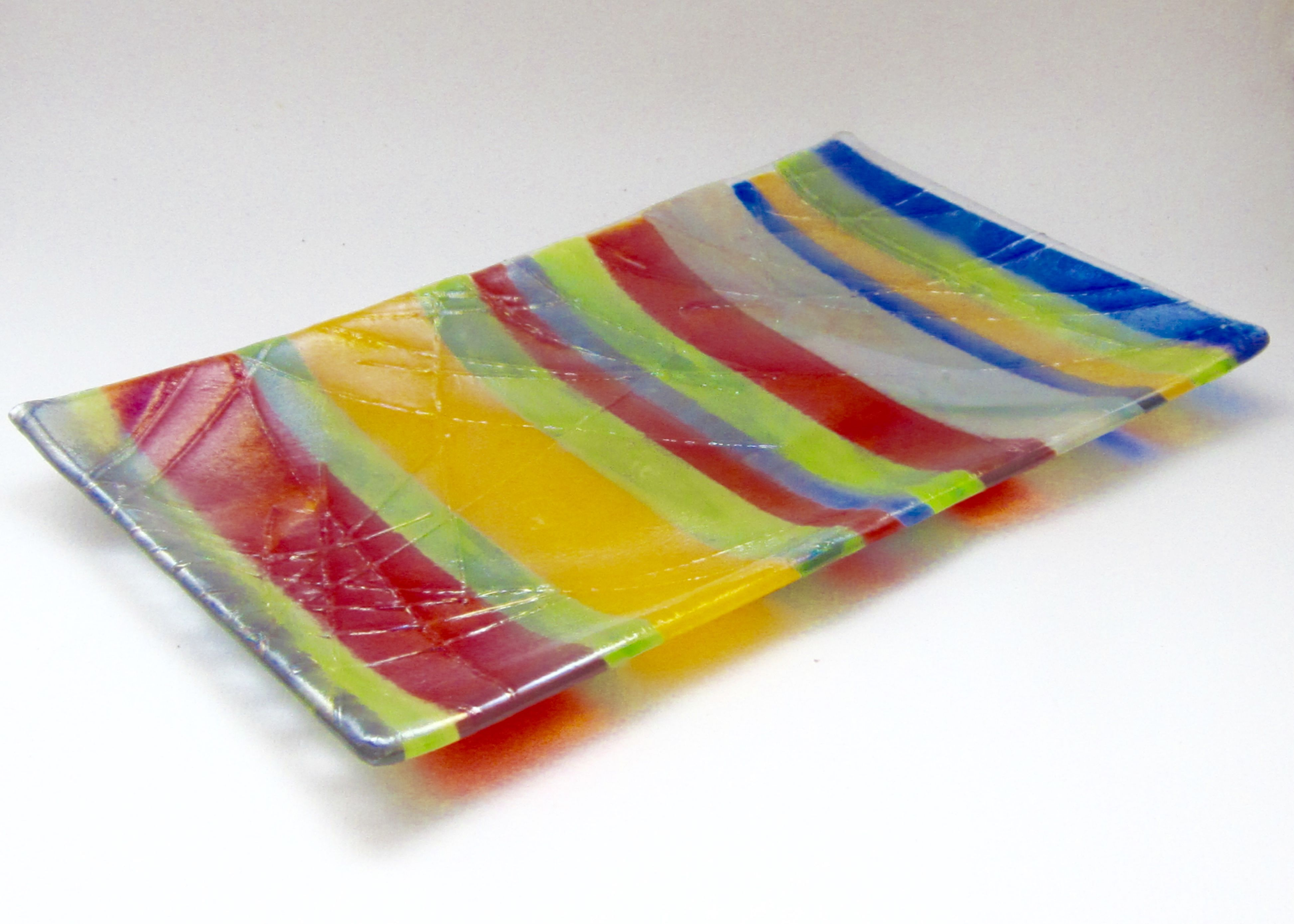 """""""Mardi Gras"""" - Fused glass sushi dish"""